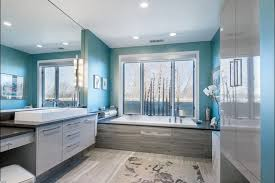 beige and blue bathroom