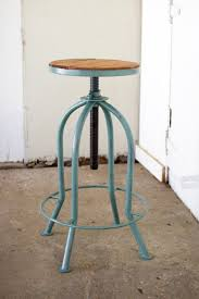 Recycled Wood by Adjustable Industrial Blue Finish Bar Stool With Recycled Wood