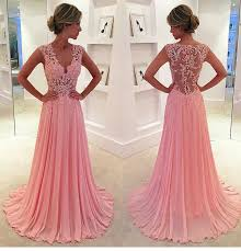 lace v neck see through long chiffon prom dress blush pink vintage