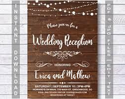 wedding reception invitations reception invitation etsy