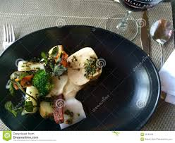 cuisine robert chef cuisine canada plate food arrangements meal stock photo