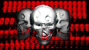 halloween video loop for window projection trio skull face fullhd vj loop halloween horror visuals