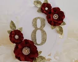Red Wedding Decorations Red Table Number Etsy