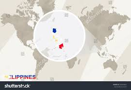 Philippines Map World by Zoom On Philippines Map Flag World Stock Vector 296965643