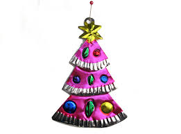 tin tree decorations lights card and decore