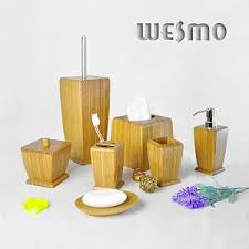 Bamboo Bathroom Accessories by Bamboo Bath Set Wesmo