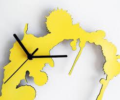 abstract clocks fun decoration yellow wall clock abstract transparent designblack