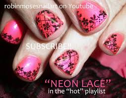 neon pink and black lace nails short nail art design tutorial