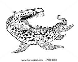 underwater dinosaurs coloring pages underwater reptile monster antistress coloring book stock vector