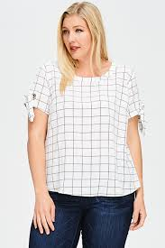 plus size white blouses shop wholesale womens plus size white checker grid print tie
