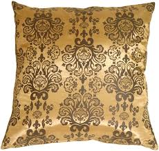 gold with brown baroque pattern throw pillow from pillow decor