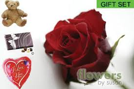 teddy in a balloon gift 12 roses teddy chocolates and balloon gift set flowers by