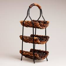 cool wine rack from curvy brown wicker rattans and black metal