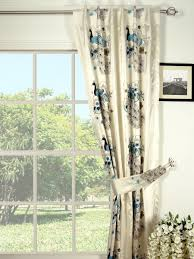 silver beach embroidered peacocks back tab faux silk curtains
