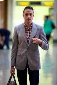 grey plaid suit jacket separate he spoke style