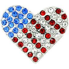 Pin Flags Silver American Flag Heart Patriotic Crystal Pin Brooch