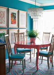 stylish dining room with wall color and furnished with