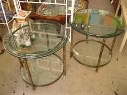 vintage gold side table pair faux bamboo side tables 3050 circa who regarding metal and