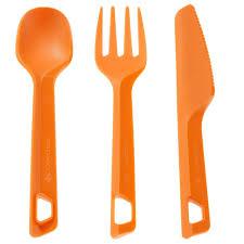 plastic cutlery 3 cutlery set orange decathlon
