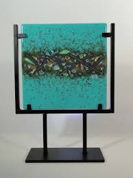 hand made fused art glass tile with dichroic inclusion by krucial