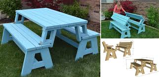 Plans For Picnic Table That Converts To Benches by Convertible Picnic Table And Bench Home Design Garden