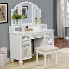 Bedroom Vanity | furniture of america 3 pc tracy collection white finish wood make up
