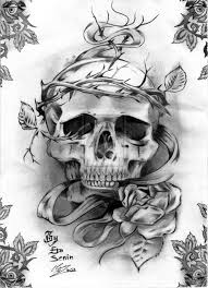 skull flowers and hour glass tattoo designs