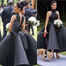 black bridesmaid dresses unique design black bridesmaid dresses 2018 high neck big bow