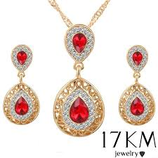 red crystal necklace set images Gold plated red blue green crystal necklace earrings wedding sets jpg