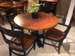 Copper Top Dining Room Tables Furniture Whiskey Oak Counter Height Art Copper Kitchen Table