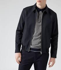 reiss ricco modern harrington jacket in blue for men lyst