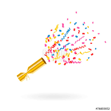 party poppers party popper with confetti and streamers vector illustration