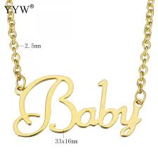 necklace baby images Classic letter word baby necklaces stainless steel gold color oval jpg