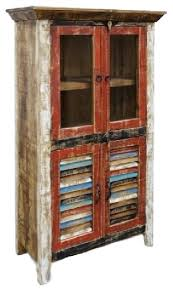 Distressed Wood Bookcase Rustic Distressed Reclaimed Wood Curio Glass Cabinet Beach