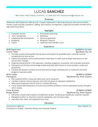 Fast Food Resume Sample by Best Shift Supervisor Resume Example Livecareer