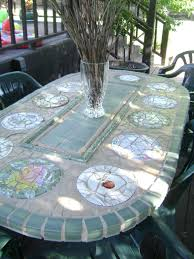 Mosaic Patio Tables Mosaic Patio Table I Made From Iron Table Legs I Got At Yard Sale
