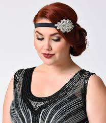 silver headband black silver beaded rhinestone penelope headband unique vintage