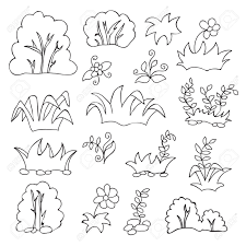 coloring book for kids grass and flowers cartoon set royalty