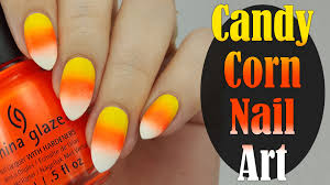 easy candy corn halloween nails for beginners youtube
