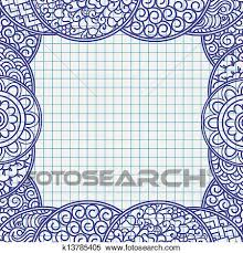 clipart of pen frame in japanese ornament style school