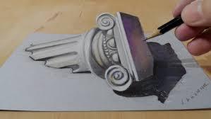 speed drawing a 3d ionic column freehand u2013 mindbenders