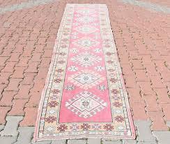 Aztec Runner Rug Hallway Rug Vintage Turkish Oushak Runner Rug Coral Pink Yellow