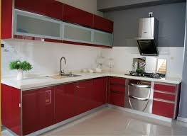 red glossy kitchen cabinets finishes with modern style for simple