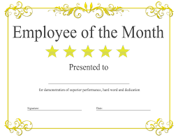 free employee of the month certificate template templates