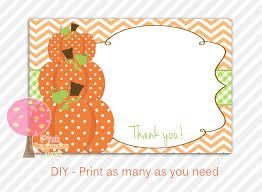 autumn pumpkin thank you cards diy printable baby shower