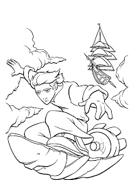 treasure planet jim hawkins solar surfing coloring pages