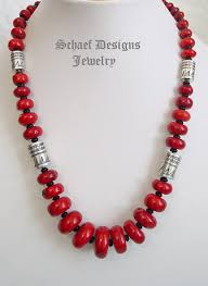 red necklace online images Schaef designs red coral onyx sterling silver tube bead single jpg