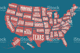 map of the united states picture poster map united states of america with state names stock vector