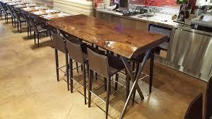 impressive natural wood bar table with rustic pub table log bar
