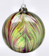 winter carnival kitras feather blown glass ornament